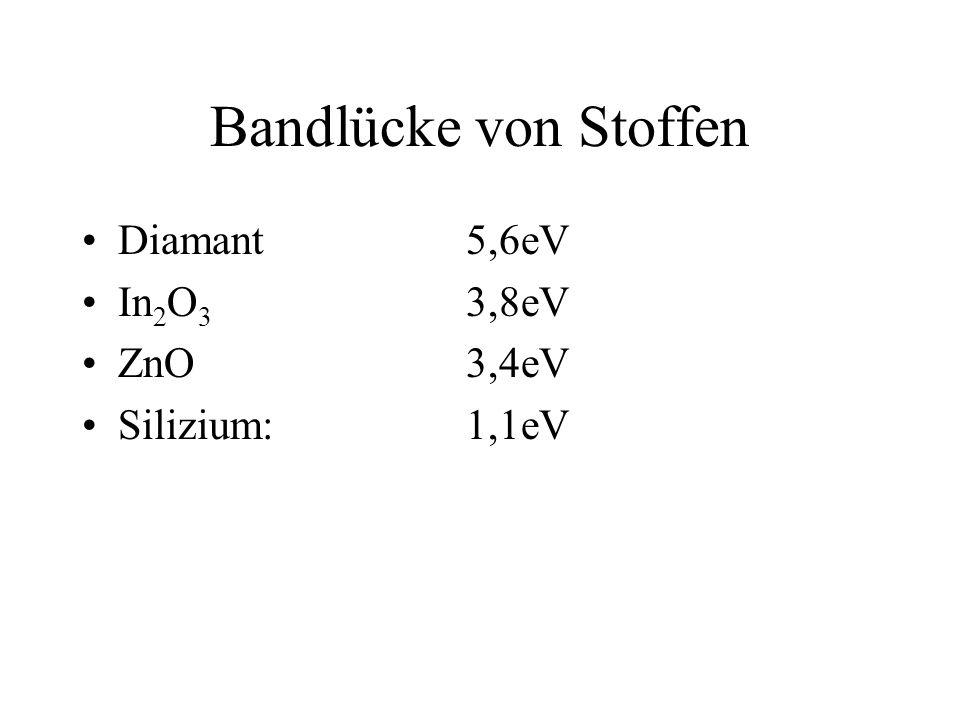 Bandlücke von Stoffen Diamant5,6eV In 2 O 3 3,8eV ZnO3,4eV Silizium:1,1eV