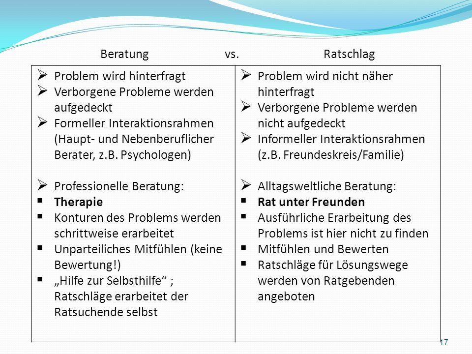 17 Problem wird hinterfragt Verborgene Probleme werden aufgedeckt Formeller Interaktionsrahmen (Haupt- und Nebenberuflicher Berater, z.B. Psychologen)