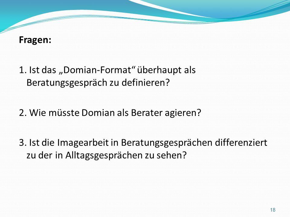 Fragen: 1. Ist das Domian-Format überhaupt als Beratungsgespräch zu definieren? 2. Wie müsste Domian als Berater agieren? 3. Ist die Imagearbeit in Be