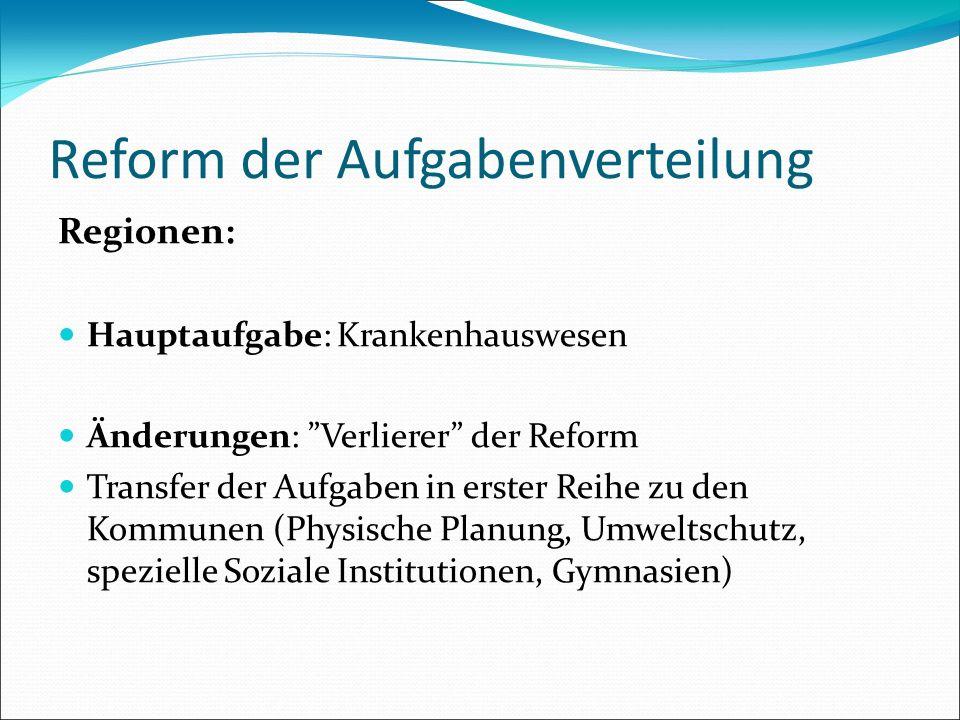 Reform der Aufgabenverteilung Regionen: Hauptaufgabe: Krankenhauswesen Änderungen: Verlierer der Reform Transfer der Aufgaben in erster Reihe zu den K