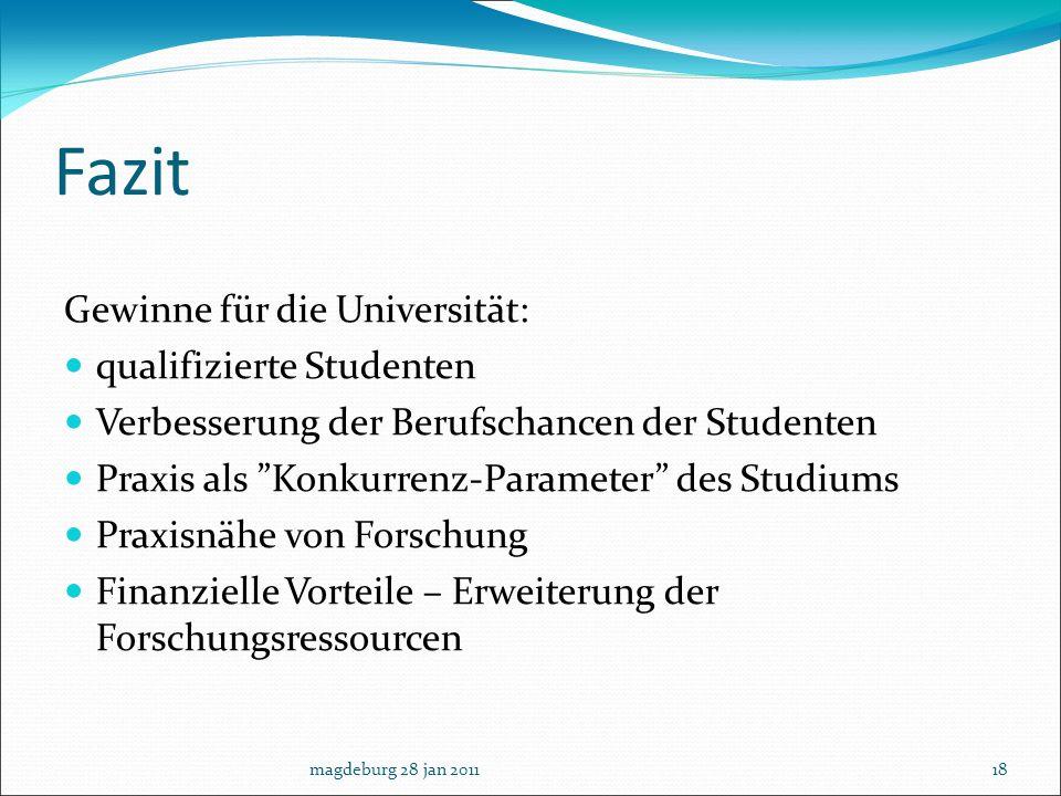 Fazit Gewinne für die Universität: qualifizierte Studenten Verbesserung der Berufschancen der Studenten Praxis als Konkurrenz-Parameter des Studiums P