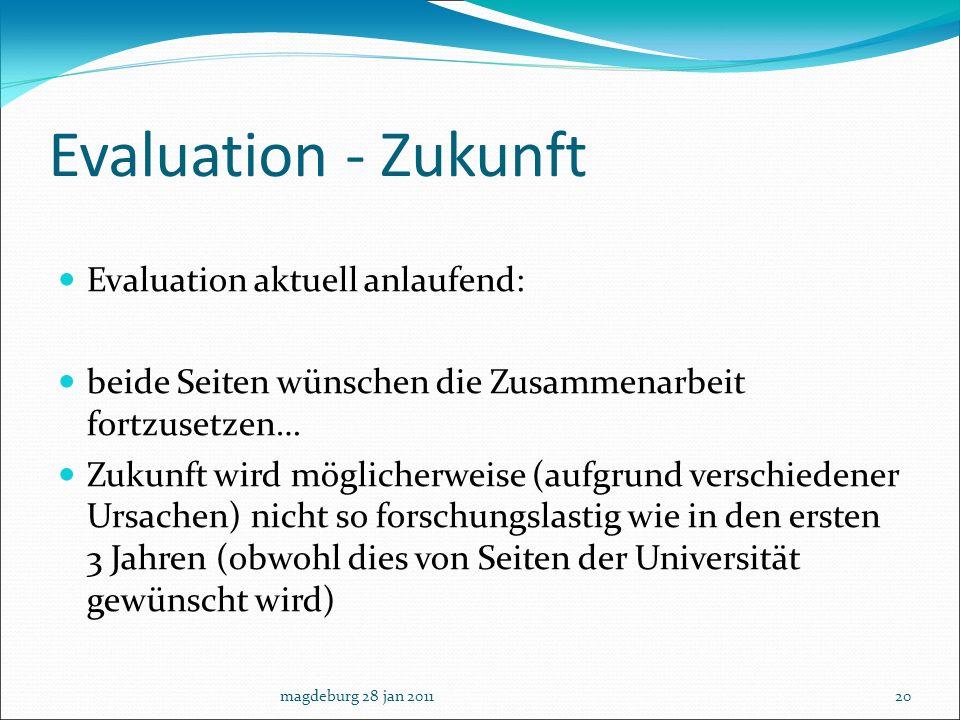 Evaluation - Zukunft Evaluation aktuell anlaufend: beide Seiten wünschen die Zusammenarbeit fortzusetzen… Zukunft wird möglicherweise (aufgrund versch