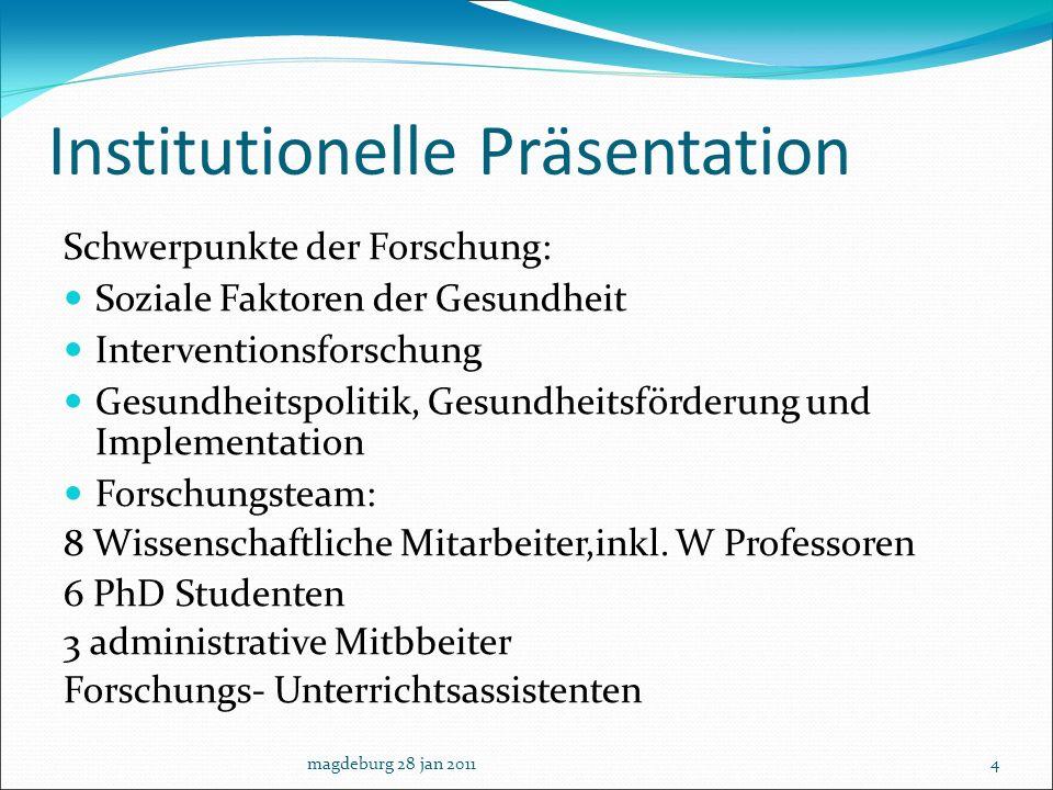 Institutionelle Präsentation Schwerpunkte der Forschung: Soziale Faktoren der Gesundheit Interventionsforschung Gesundheitspolitik, Gesundheitsförderu