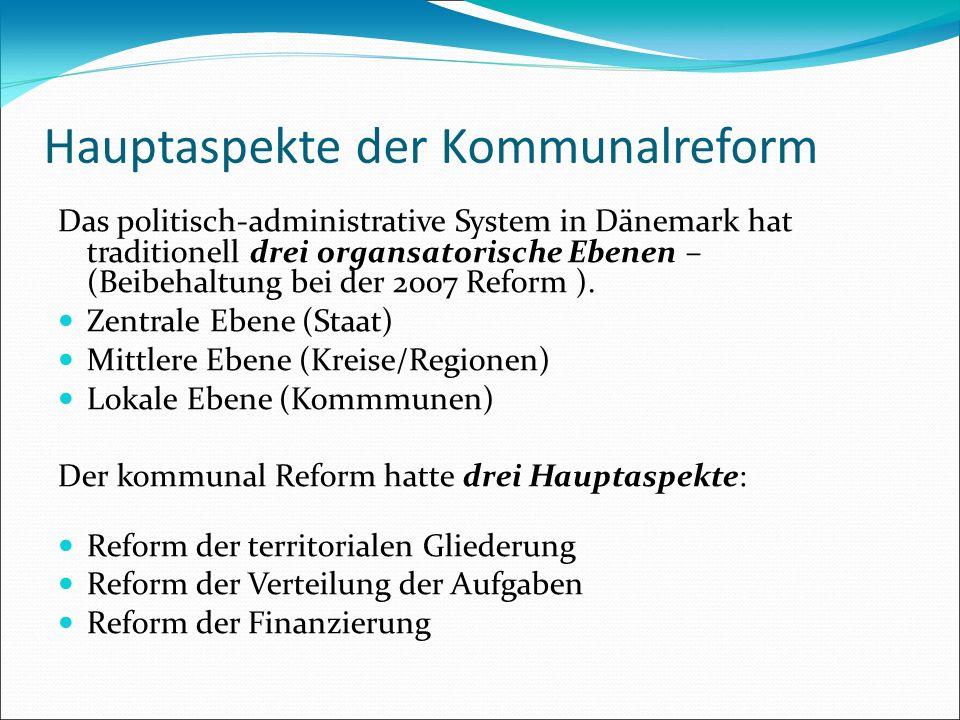Hauptaspekte der Kommunalreform Das politisch-administrative System in Dänemark hat traditionell drei organsatorische Ebenen – (Beibehaltung bei der 2