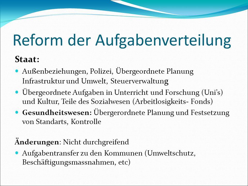 Reform der Aufgabenverteilung Staat: Außenbeziehungen, Polizei, Übergeordnete Planung Infrastruktur und Umwelt, Steuerverwaltun g Übergeordnete Aufgab
