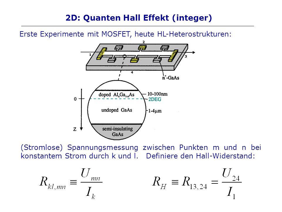 2D: Quanten Hall Effekt (integer) (Stromlose) Spannungsmessung zwischen Punkten m und n bei konstantem Strom durch k und l. Definiere den Hall-Widerst