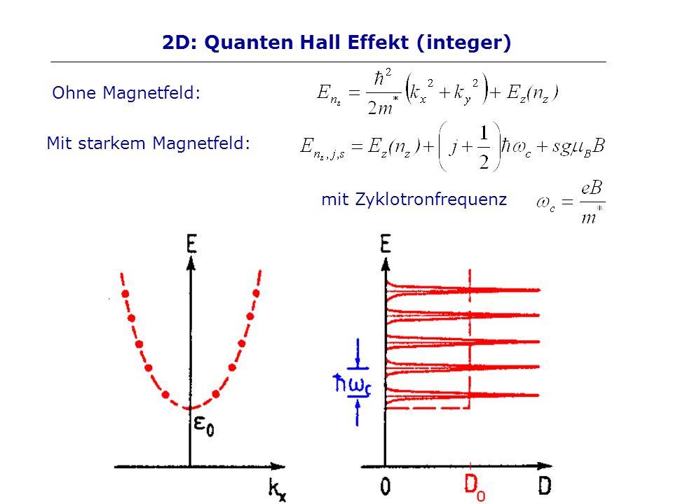 2D: Quanten Hall Effekt (integer) Ohne Magnetfeld: Mit starkem Magnetfeld: mit Zyklotronfrequenz