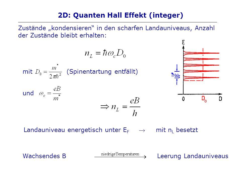 2D: Quanten Hall Effekt (integer) Zustände kondensieren in den scharfen Landauniveaus, Anzahl der Zustände bleibt erhalten: mit (Spinentartung entfäll