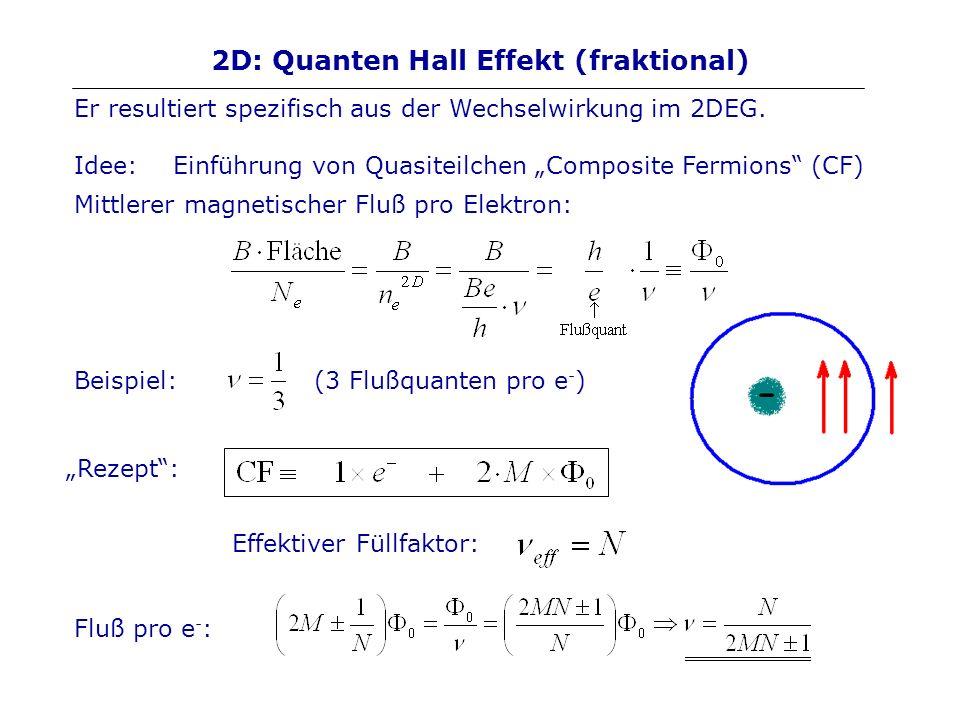 2D: Quanten Hall Effekt (fraktional) Er resultiert spezifisch aus der Wechselwirkung im 2DEG. Idee: Einführung von Quasiteilchen Composite Fermions (C