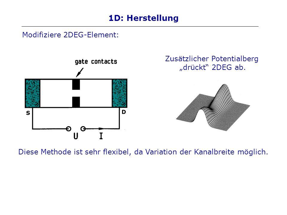 1D: Herstellung Zusätzlicher Potentialberg drückt 2DEG ab. Diese Methode ist sehr flexibel, da Variation der Kanalbreite möglich. Modifiziere 2DEG-Ele