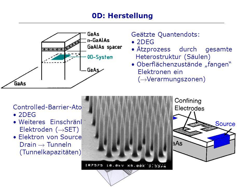 0D: Herstellung Controlled-Barrier-Atom: 2DEG Weiteres Einschränken durch Elektroden (SET) Elektron von Source nach Drain Tunneln (Tunnelkapazitäten)