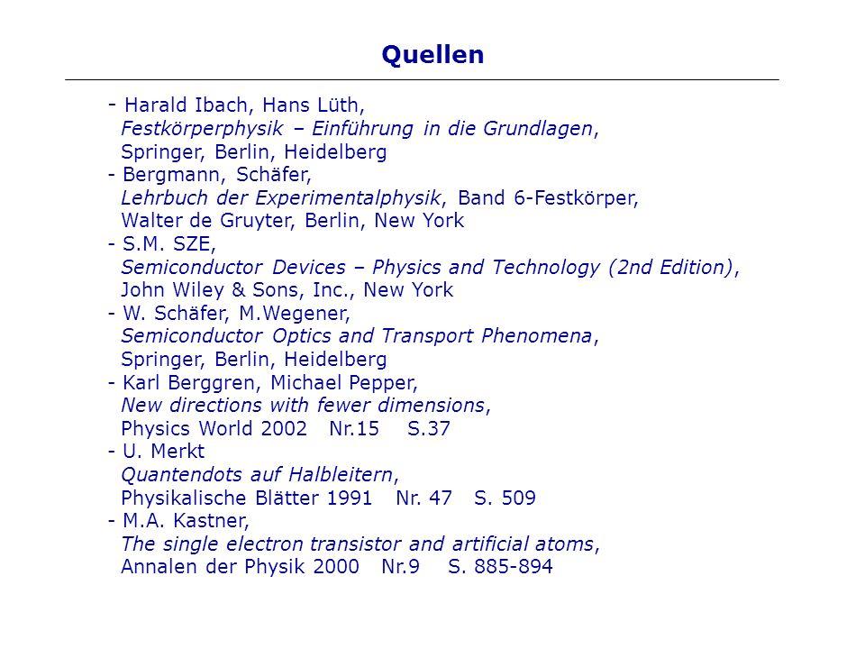 Quellen - Harald Ibach, Hans Lüth, Festkörperphysik – Einführung in die Grundlagen, Springer, Berlin, Heidelberg - Bergmann, Schäfer, Lehrbuch der Exp
