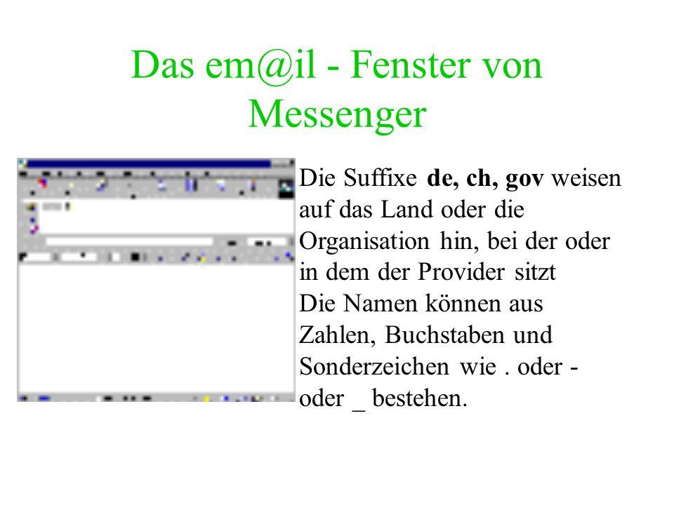 E-m@il e-mail-Adresse des Gegenübers. Standard- Adressenform: –name@Domäne.Suffix Beispiele: mob@mt-online.de hauptschule.holzhausen@uni-bielefeld.de