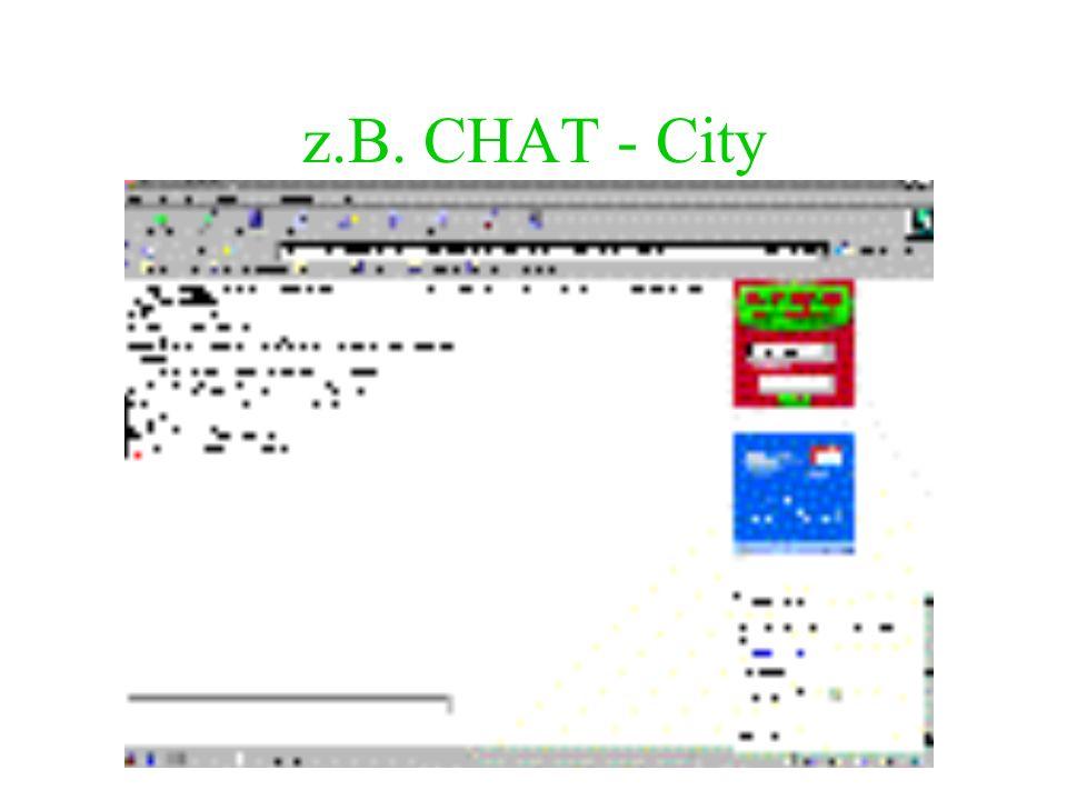 Chat Ein Chat ist E-mail in Echtzeit. Adresse des Chat-Anbieters im Internet anwählen Anmelden im Chatroom - in der Regel mit frei wählbarem Pseudonym