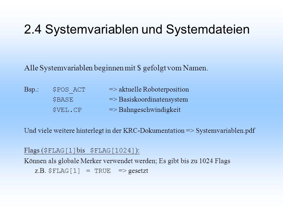 Alle Systemvariablen beginnen mit $ gefolgt vom Namen.