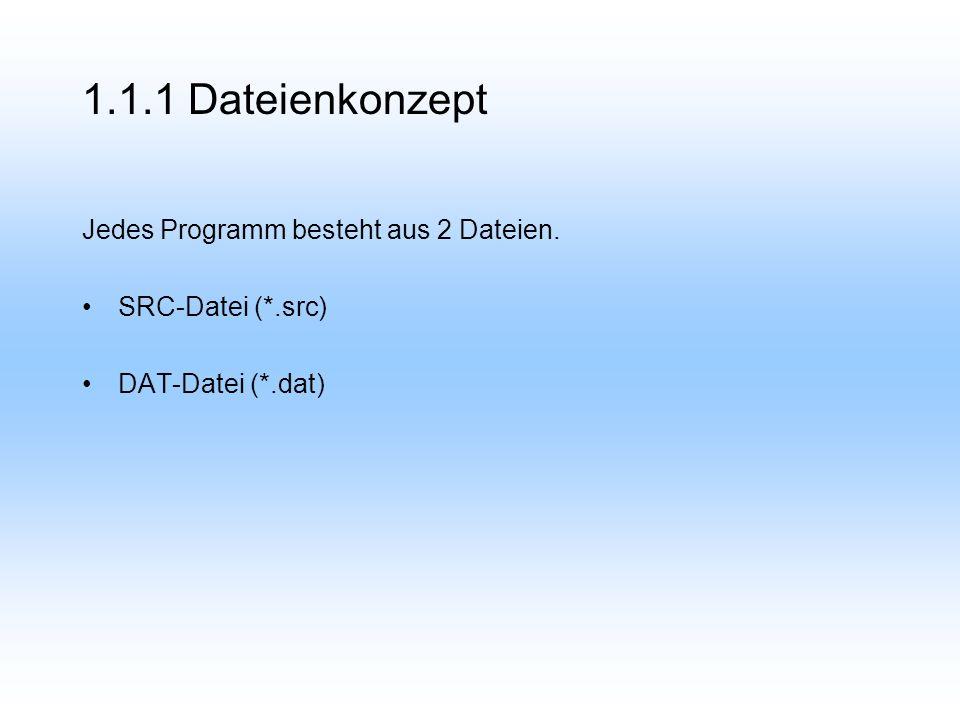 1.1.2 Dateinstruktur DEF PROGRAMMNAME(X1: IN) Deklarationen Initialisierungen Anweisungen END Standardmäßig nicht sichtbar im Editor der KUKA HMI-Software