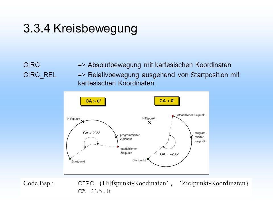 3.3.4 Kreisbewegung CIRC=> Absolutbewegung mit kartesischen Koordinaten CIRC_REL=> Relativbewegung ausgehend von Startposition mit kartesischen Koordinaten.