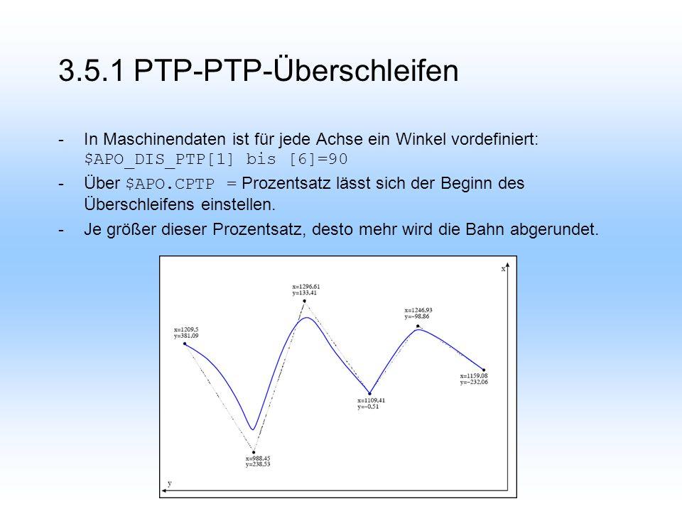 3.5.1 PTP-PTP-Überschleifen -In Maschinendaten ist für jede Achse ein Winkel vordefiniert: $APO_DIS_PTP[1] bis [6]=90 -Über $APO.CPTP = Prozentsatz lässt sich der Beginn des Überschleifens einstellen.