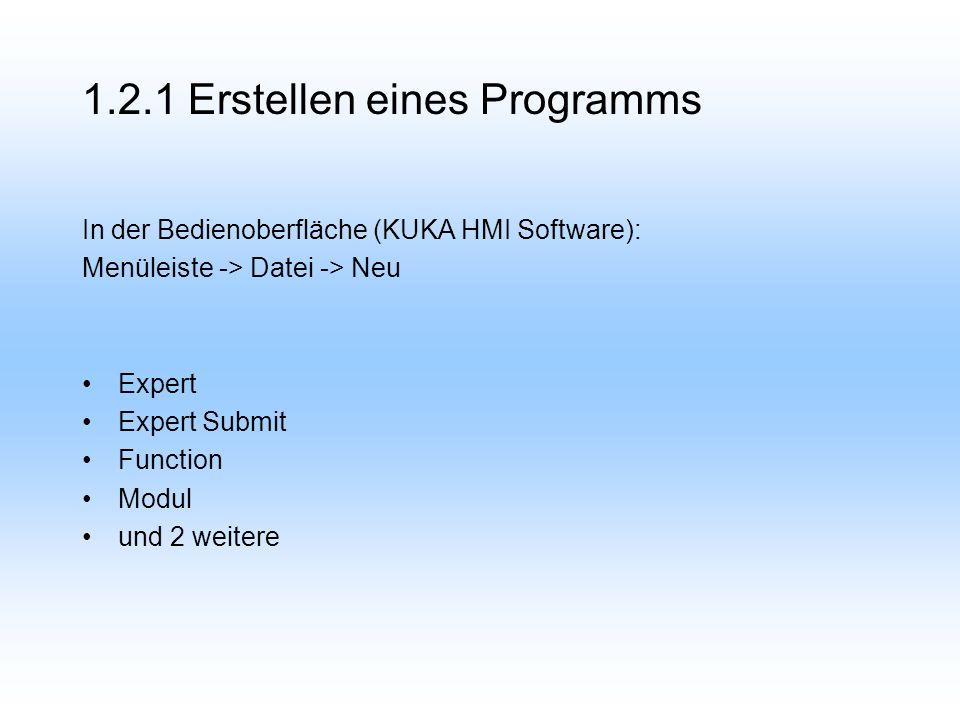 1.2.1 Erstellen eines Programms In der Bedienoberfläche (KUKA HMI Software): Menüleiste -> Datei -> Neu Expert Expert Submit Function Modul und 2 weitere