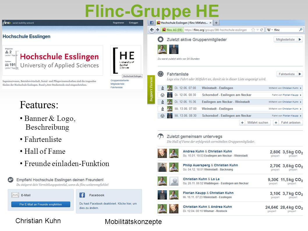 Flinc-Gruppe HE Features: Banner & Logo, Beschreibung Fahrtenliste Hall of Fame Freunde einladen-Funktion Christian Kuhn Mobilitätskonzepte