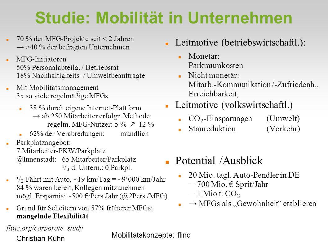 Studie: Mobilität in Unternehmen 70 % der MFG-Projekte seit 40 % der befragten Unternehmen MFG-Initiatoren 50% Personalabteilg.