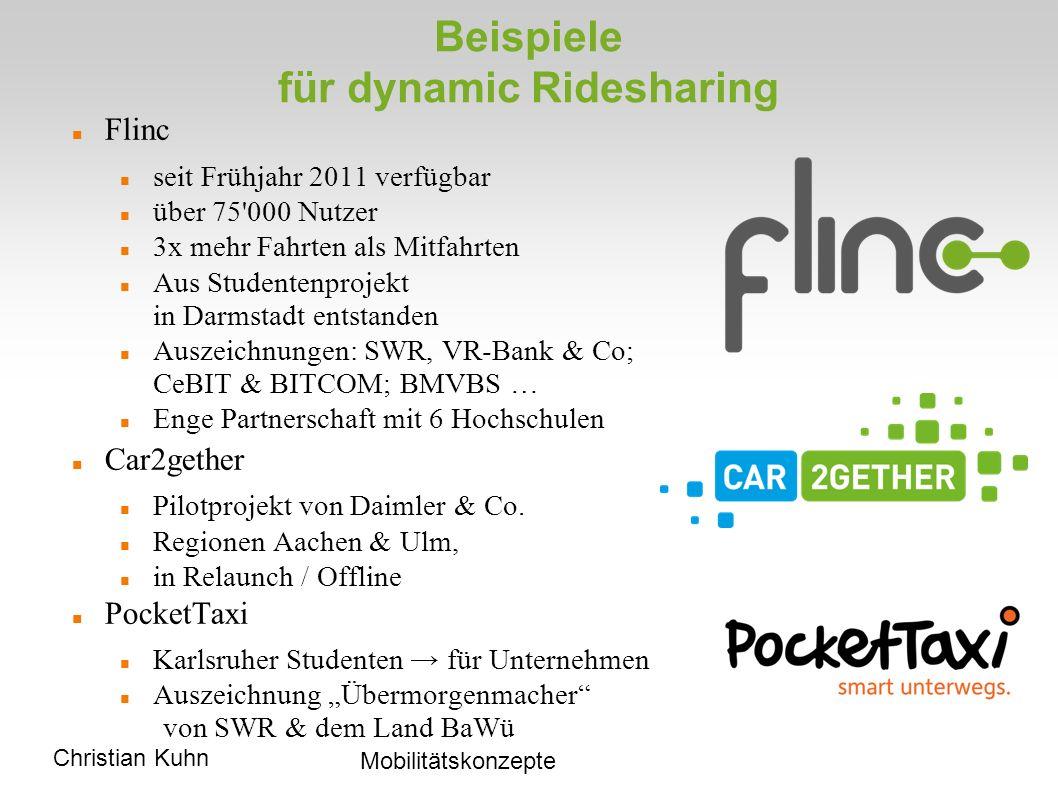 Christian Kuhn Mobilitätskonzepte Beispiele für dynamic Ridesharing Flinc seit Frühjahr 2011 verfügbar über 75 000 Nutzer 3x mehr Fahrten als Mitfahrten Aus Studentenprojekt in Darmstadt entstanden Auszeichnungen: SWR, VR-Bank & Co; CeBIT & BITCOM; BMVBS … Enge Partnerschaft mit 6 Hochschulen Car2gether Pilotprojekt von Daimler & Co.