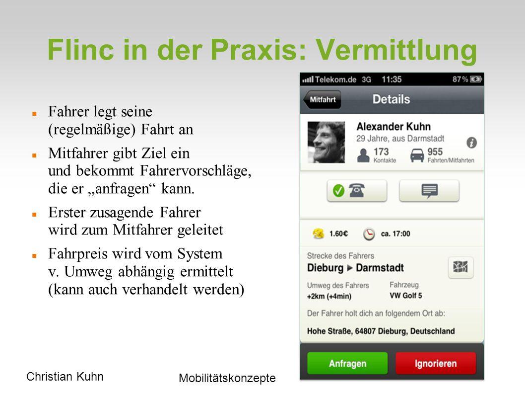 Fahrten-Übersicht flinc.org/discover/esslingen Christian Kuhn Mobilitätskonzepte Derzeit in Region oftmals 30 Fahrten/Std.