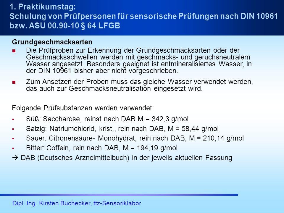 Dipl. Ing. Kirsten Buchecker, ttz-Sensoriklabor Grundgeschmacksarten Die Prüfproben zur Erkennung der Grundgeschmacksarten oder der Geschmacksschwelle