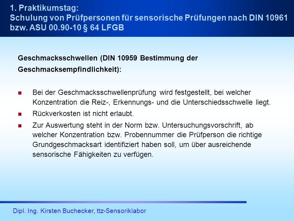 Dipl. Ing. Kirsten Buchecker, ttz-Sensoriklabor Geschmacksschwellen (DIN 10959 Bestimmung der Geschmacksempfindlichkeit): Bei der Geschmacksschwellenp