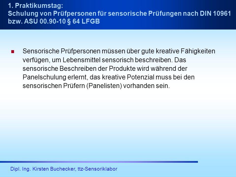 Dipl. Ing. Kirsten Buchecker, ttz-Sensoriklabor Sensorische Prüfpersonen müssen über gute kreative Fähigkeiten verfügen, um Lebensmittel sensorisch be