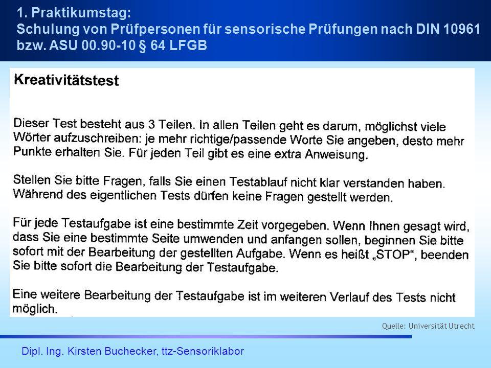 Dipl. Ing. Kirsten Buchecker, ttz-Sensoriklabor 1. Praktikumstag: Schulung von Prüfpersonen für sensorische Prüfungen nach DIN 10961 bzw. ASU 00.90-10