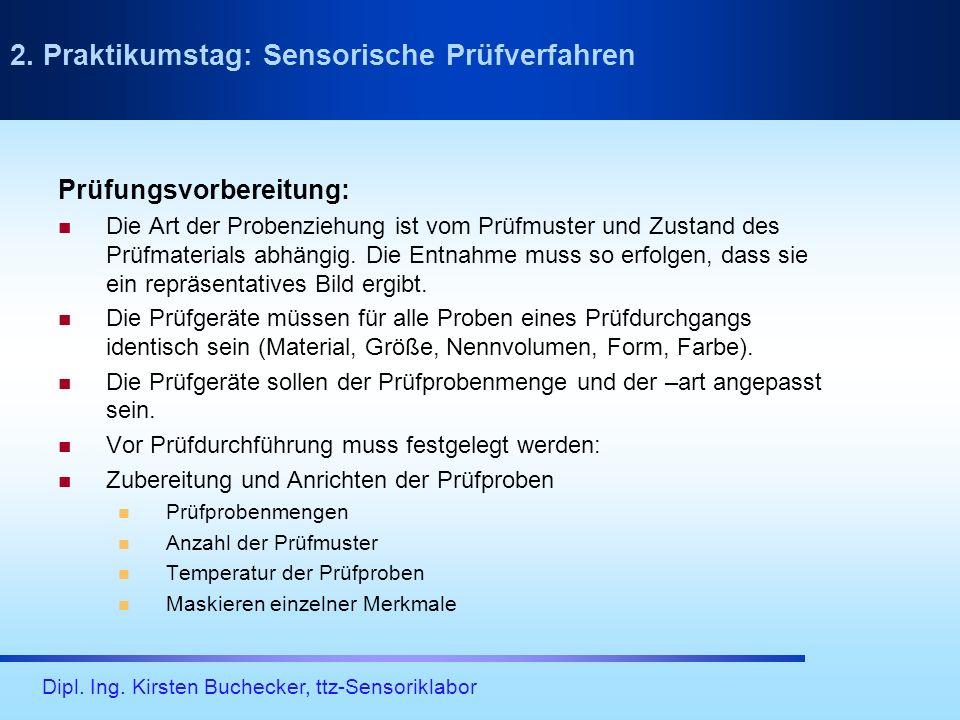 Dipl. Ing. Kirsten Buchecker, ttz-Sensoriklabor Prüfungsvorbereitung: Die Art der Probenziehung ist vom Prüfmuster und Zustand des Prüfmaterials abhän