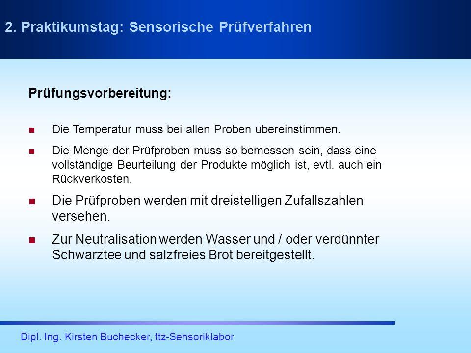 Dipl. Ing. Kirsten Buchecker, ttz-Sensoriklabor Prüfungsvorbereitung: Die Temperatur muss bei allen Proben übereinstimmen. Die Menge der Prüfproben mu