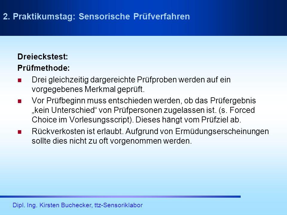 Dipl. Ing. Kirsten Buchecker, ttz-Sensoriklabor Dreieckstest: Prüfmethode: Drei gleichzeitig dargereichte Prüfproben werden auf ein vorgegebenes Merkm