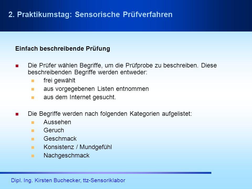 Dipl. Ing. Kirsten Buchecker, ttz-Sensoriklabor Einfach beschreibende Prüfung Die Prüfer wählen Begriffe, um die Prüfprobe zu beschreiben. Diese besch