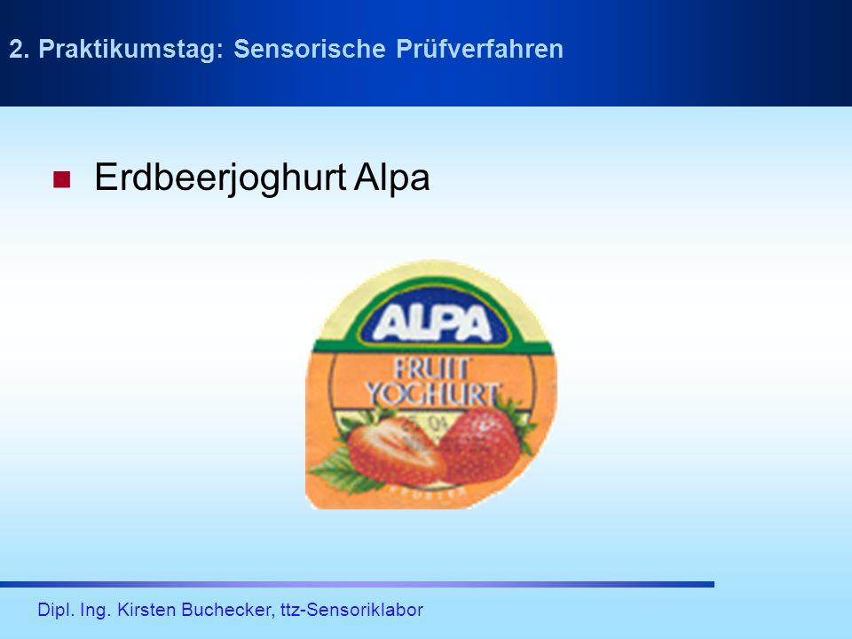 Dipl. Ing. Kirsten Buchecker, ttz-Sensoriklabor Erdbeerjoghurt Alpa 2. Praktikumstag: Sensorische Prüfverfahren