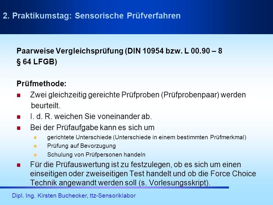 Dipl. Ing. Kirsten Buchecker, ttz-Sensoriklabor Paarweise Vergleichsprüfung (DIN 10954 bzw. L 00.90 – 8 § 64 LFGB) Prüfmethode: Zwei gleichzeitig gere