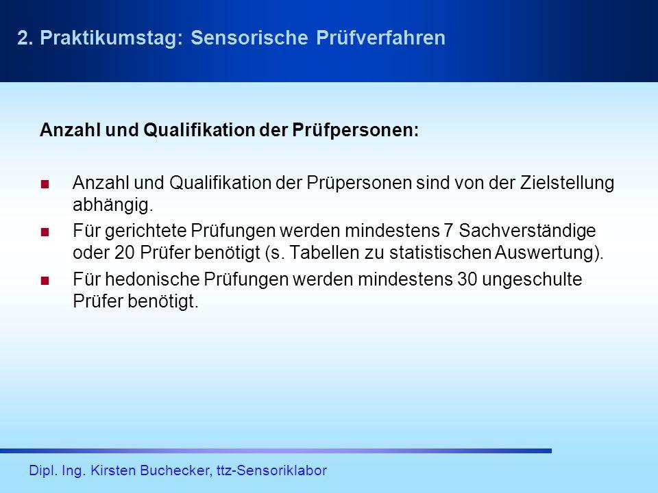 Dipl. Ing. Kirsten Buchecker, ttz-Sensoriklabor Anzahl und Qualifikation der Prüfpersonen: Anzahl und Qualifikation der Prüpersonen sind von der Ziels
