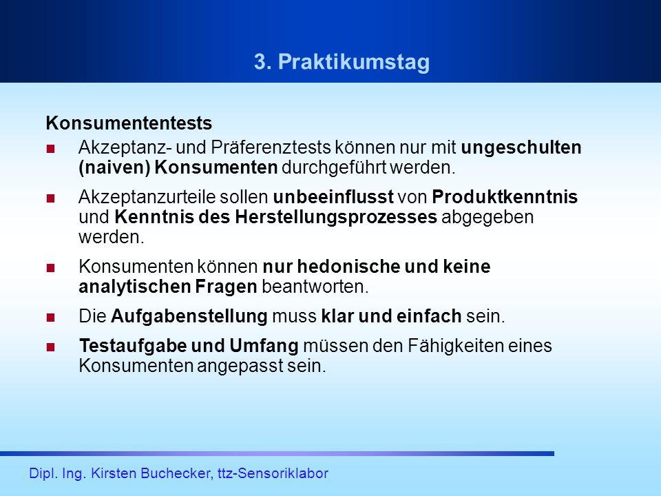 Dipl. Ing. Kirsten Buchecker, ttz-Sensoriklabor Konsumententests Akzeptanz- und Präferenztests können nur mit ungeschulten (naiven) Konsumenten durchg