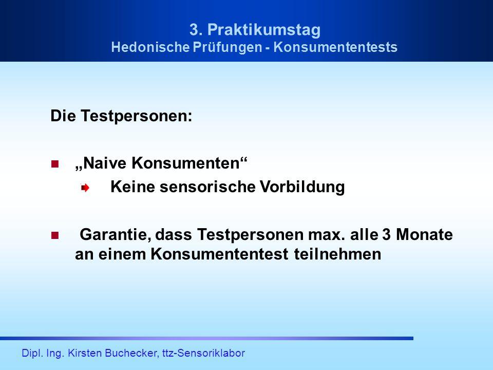 Dipl. Ing. Kirsten Buchecker, ttz-Sensoriklabor Die Testpersonen: Naive Konsumenten Keine sensorische Vorbildung Garantie, dass Testpersonen max. alle