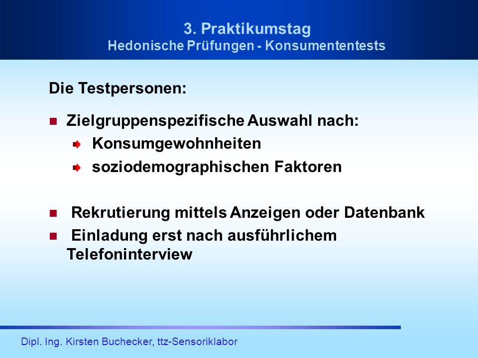 Dipl. Ing. Kirsten Buchecker, ttz-Sensoriklabor Die Testpersonen: Zielgruppenspezifische Auswahl nach: Konsumgewohnheiten soziodemographischen Faktore