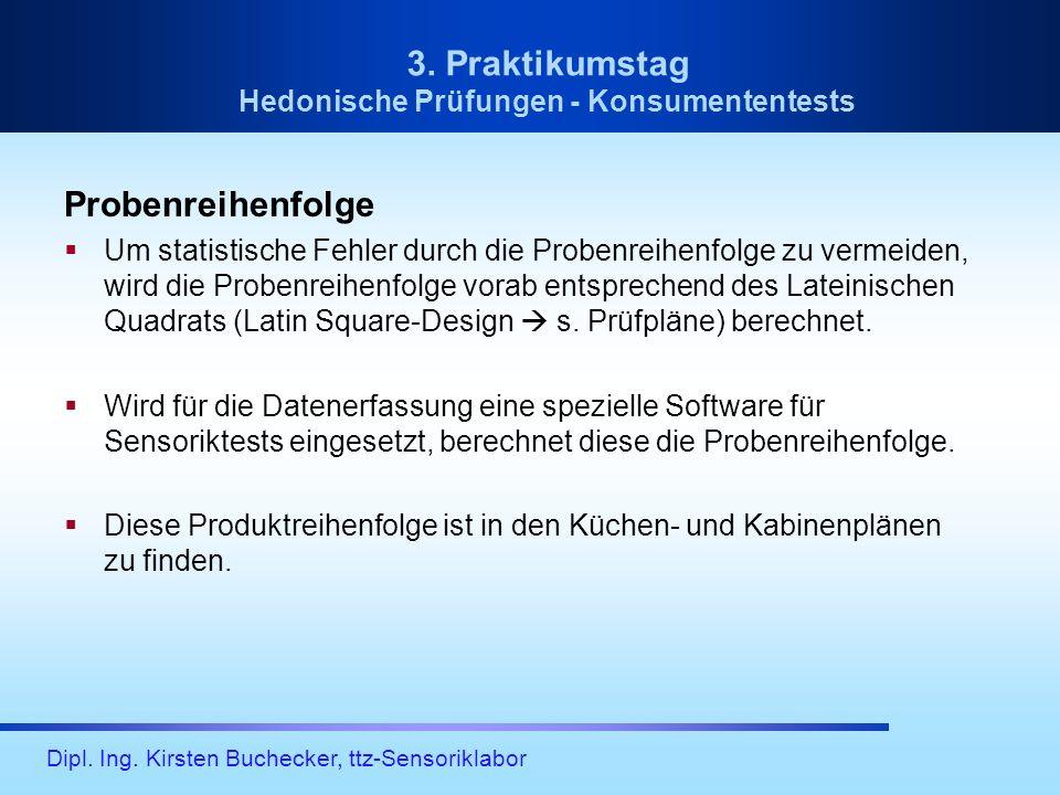 Dipl. Ing. Kirsten Buchecker, ttz-Sensoriklabor 3. Praktikumstag Hedonische Prüfungen - Konsumententests Probenreihenfolge Um statistische Fehler durc