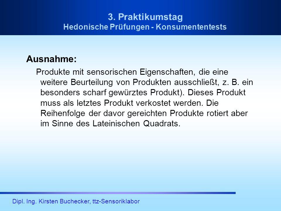 Dipl. Ing. Kirsten Buchecker, ttz-Sensoriklabor 3. Praktikumstag Hedonische Prüfungen - Konsumententests Ausnahme: Produkte mit sensorischen Eigenscha