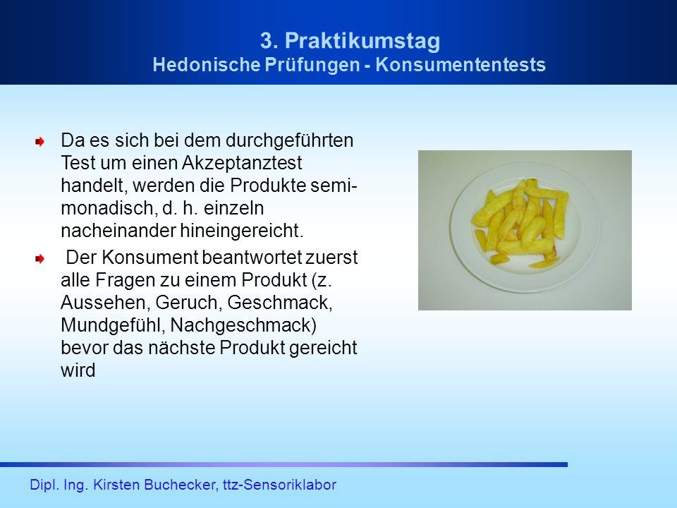 Dipl. Ing. Kirsten Buchecker, ttz-Sensoriklabor 3. Praktikumstag Hedonische Prüfungen - Konsumententests Da es sich bei dem durchgeführten Test um ein