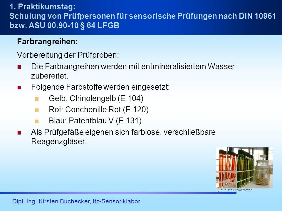 Dipl. Ing. Kirsten Buchecker, ttz-Sensoriklabor Farbrangreihen: Vorbereitung der Prüfproben: Die Farbrangreihen werden mit entmineralisiertem Wasser z