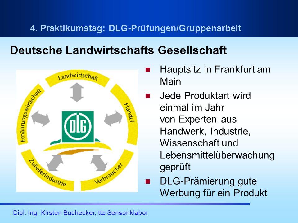 Dipl. Ing. Kirsten Buchecker, ttz-Sensoriklabor 4. Praktikumstag: DLG-Prüfungen/Gruppenarbeit Hauptsitz in Frankfurt am Main Jede Produktart wird einm