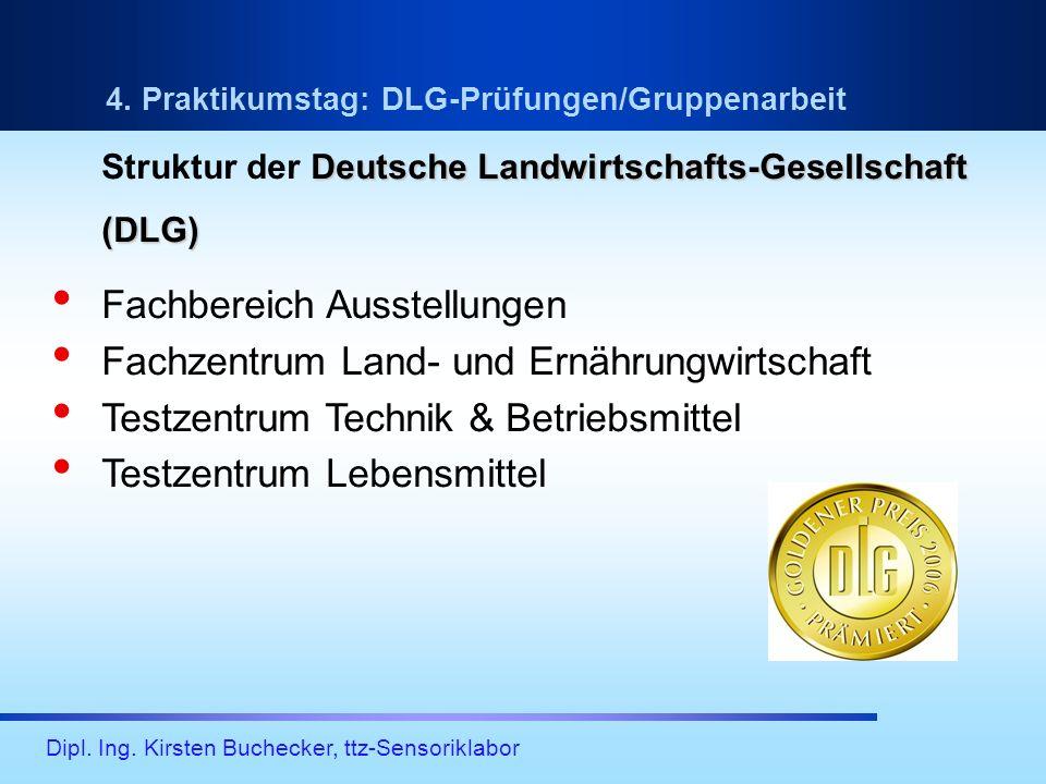 Dipl. Ing. Kirsten Buchecker, ttz-Sensoriklabor Deutsche Landwirtschafts-Gesellschaft Struktur der Deutsche Landwirtschafts-Gesellschaft(DLG) Fachbere