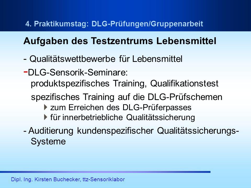 Dipl. Ing. Kirsten Buchecker, ttz-Sensoriklabor 4. Praktikumstag: DLG-Prüfungen/Gruppenarbeit Aufgaben des Testzentrums Lebensmittel - Qualitätswettbe