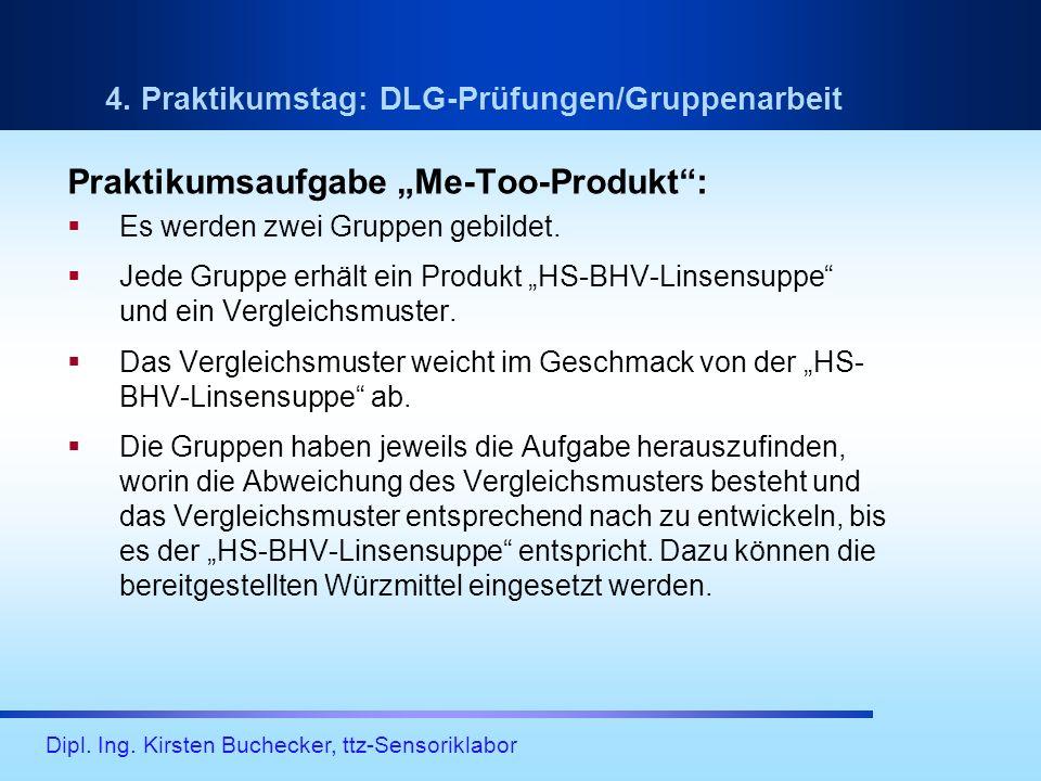 Dipl. Ing. Kirsten Buchecker, ttz-Sensoriklabor 4. Praktikumstag: DLG-Prüfungen/Gruppenarbeit Praktikumsaufgabe Me-Too-Produkt: Es werden zwei Gruppen