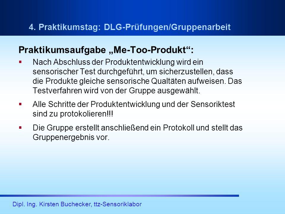 Dipl. Ing. Kirsten Buchecker, ttz-Sensoriklabor 4. Praktikumstag: DLG-Prüfungen/Gruppenarbeit Praktikumsaufgabe Me-Too-Produkt: Nach Abschluss der Pro